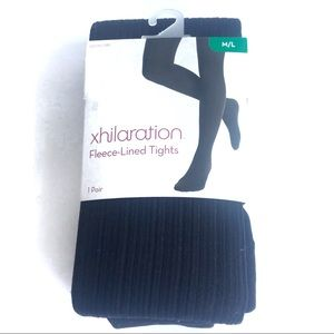 XHILARATION Black Fleece Lined Tights Size M/L NWT